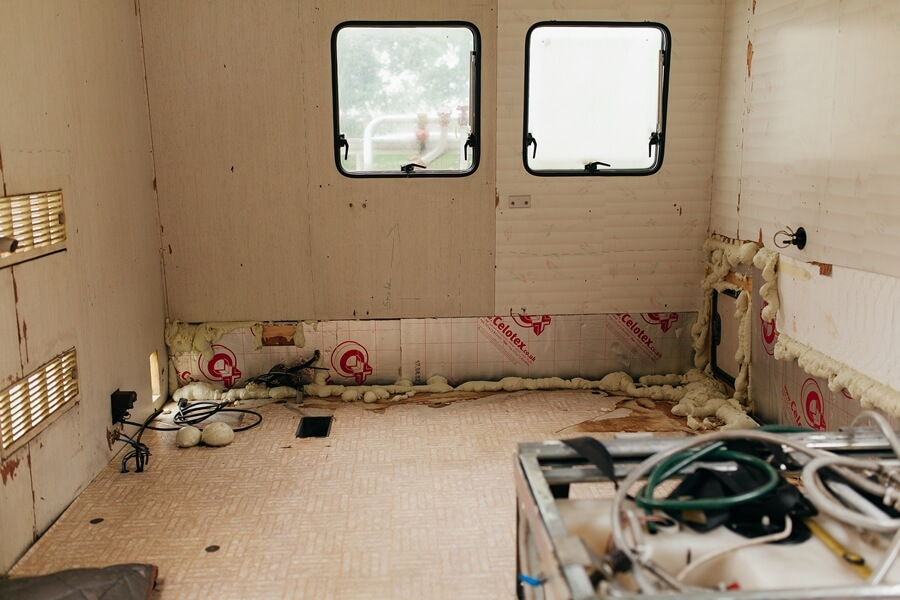 Gutting our motorhome - empty motorhome interior