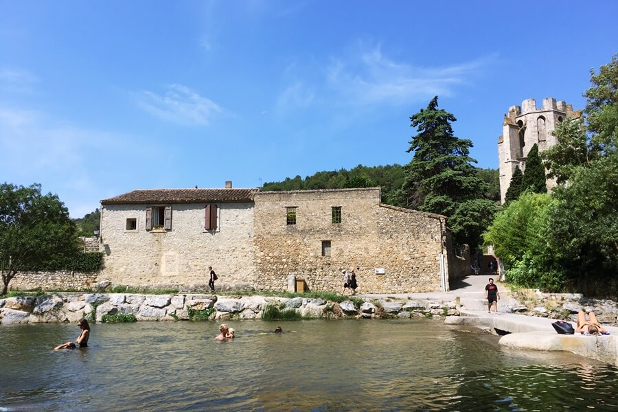 Exploring Lagrasse with Kids - wild swimming in the river