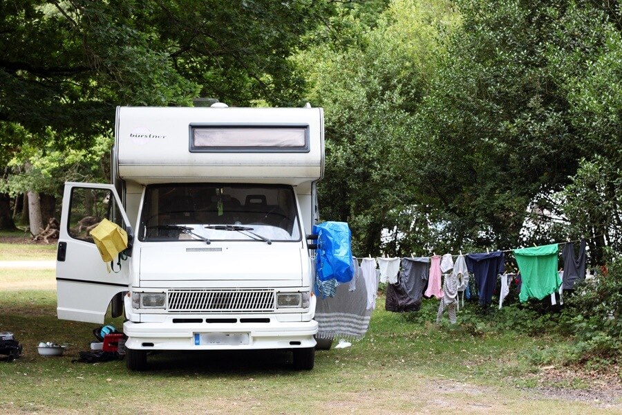 10 Things We've Learnt About Family Van Life - motorhome with washing