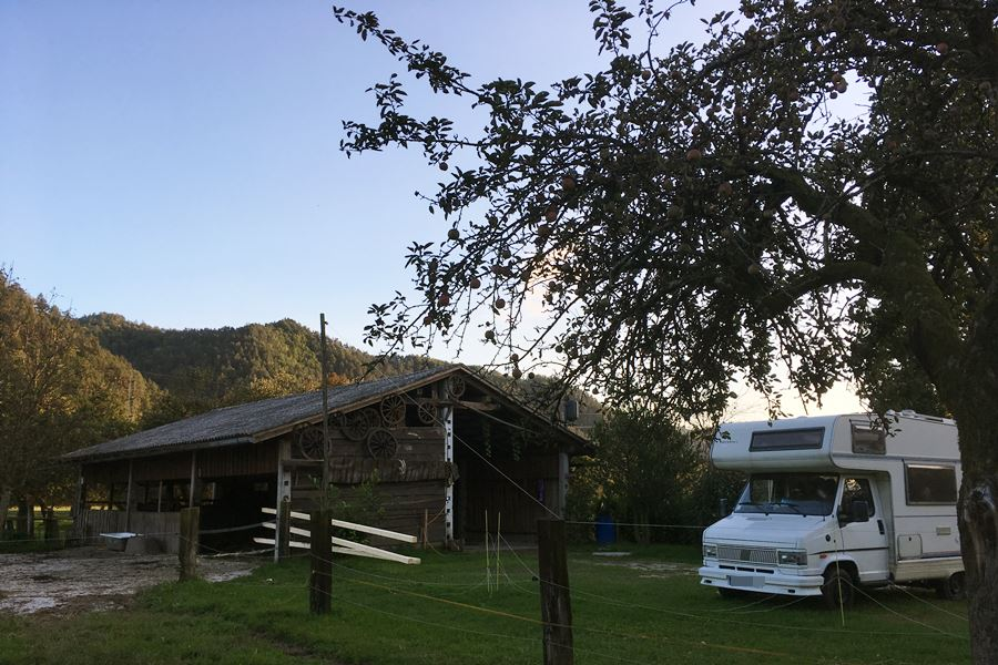 Campervan stop in Slovenian apple orchard
