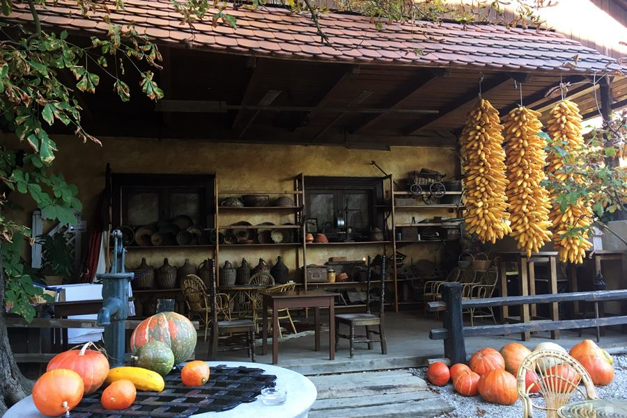 Drying corn and pumpkins at Pr' Krač Homestead in Slovenia