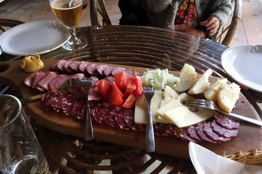 Charcuterie and cheeses at Pr' Krač Homestead in Slovenia