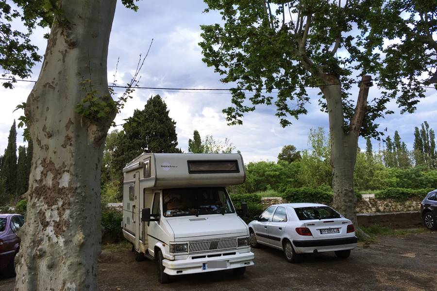 Car park in Pezenas - France In A Campervan