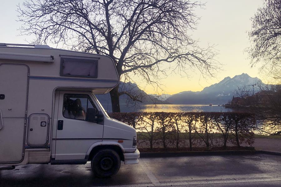 Lake view campervan stop - Exploring Weggis (Switzerland) In A Campervan
