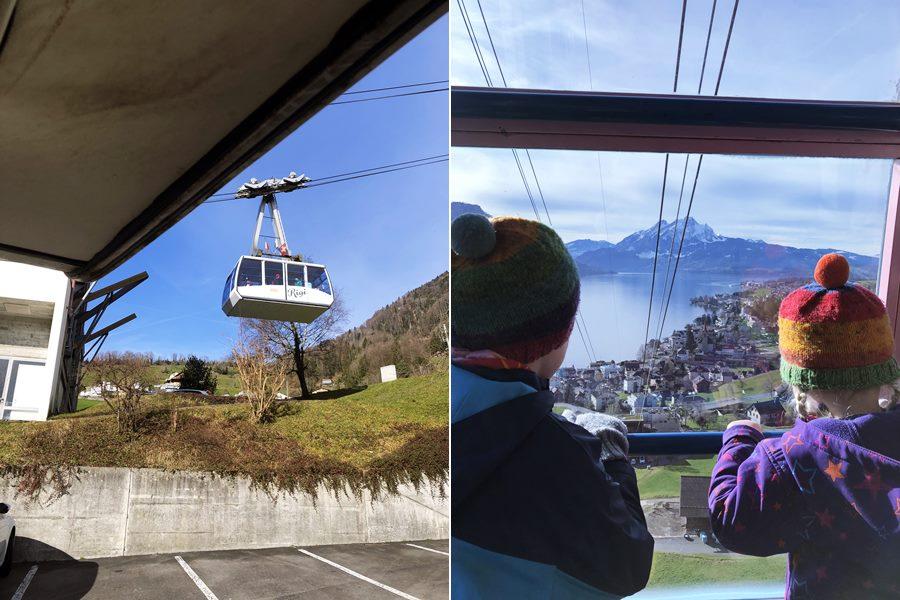 Cable car in Weggis to Mount Rigi - Exploring Weggis (Switzerland) In A Campervan