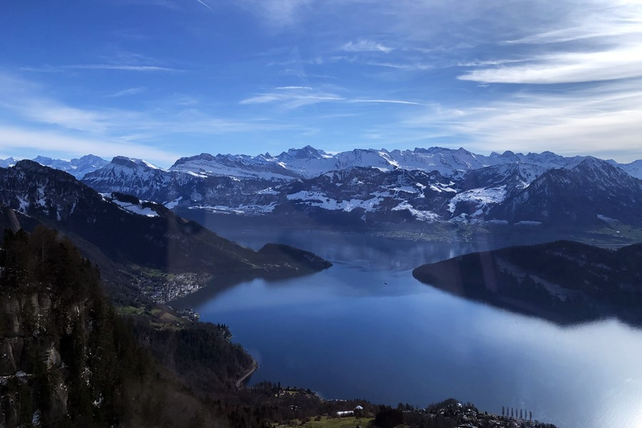 View of Lake Lucerne from Rigi cable car - Exploring Weggis (Switzerland) In A Campervan