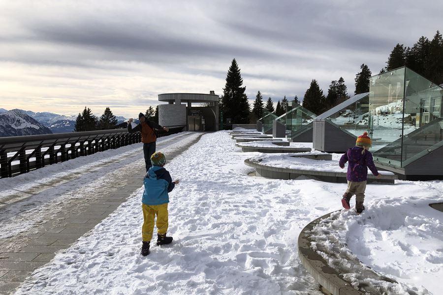 Snowball fight at Rigi Kaltbad - Exploring Weggis (Switzerland) In A Campervan