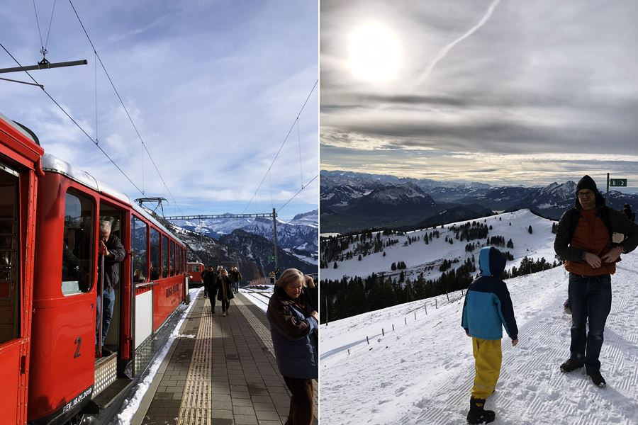 Wooden train to Mount Rigi - Exploring Weggis (Switzerland) In A Campervan
