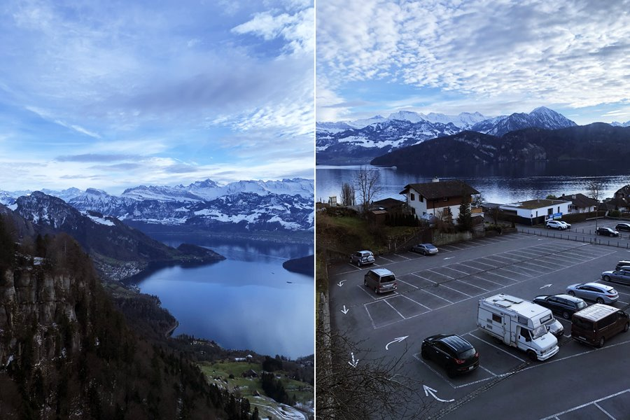 Cable car views of Lake Lucerne - Exploring Weggis (Switzerland) In A Campervan