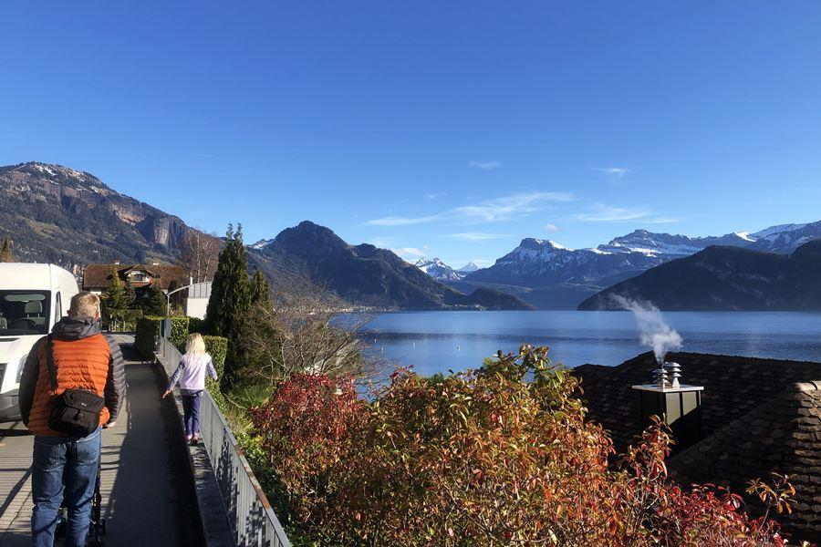 Walking by Lake Lucerne - Exploring Weggis (Switzerland) In A Campervan