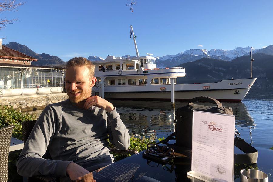 Coffee on Lake Lucerne - Exploring Weggis (Switzerland) In A Campervan
