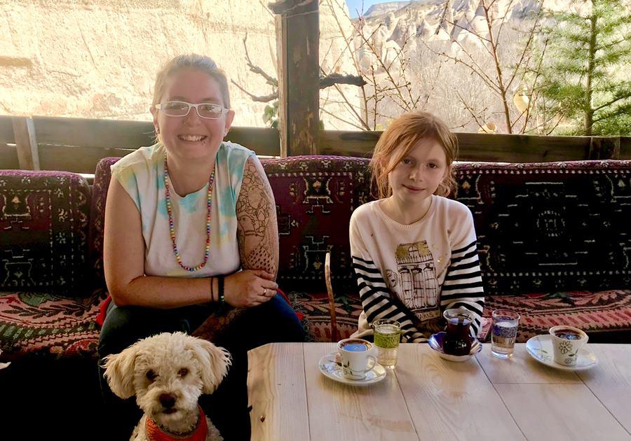 Van family enjoying Turkish coffee - Fulltime Van Family Exploring Europe