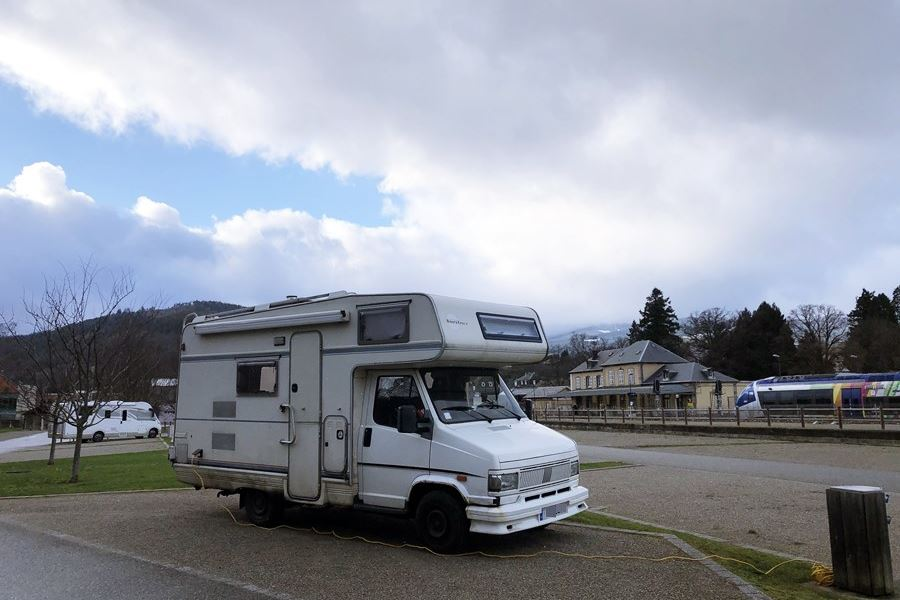 Motorhome aire in Munster, France - exploring Munster and finding storks