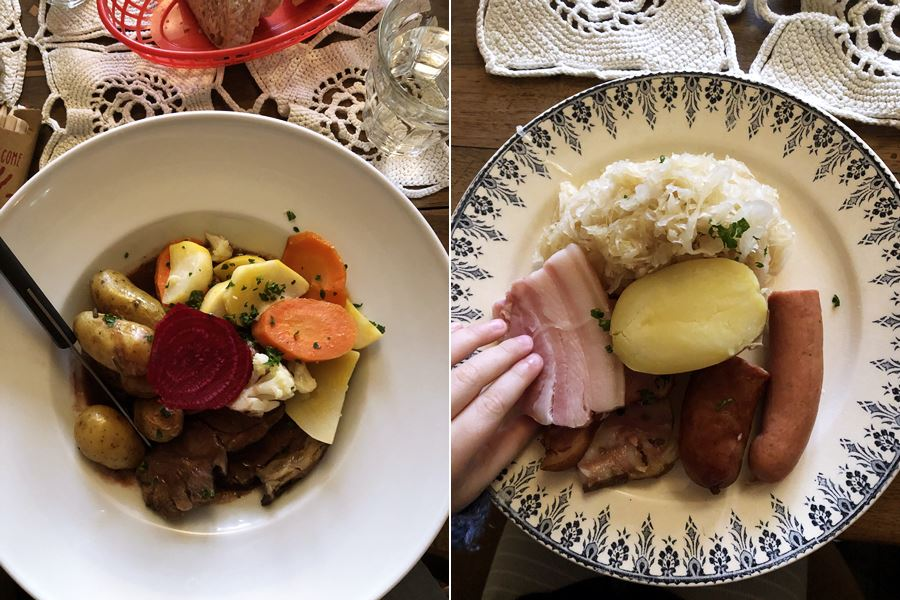 Alsace dishes in Munster, France - exploring Munster and finding storks