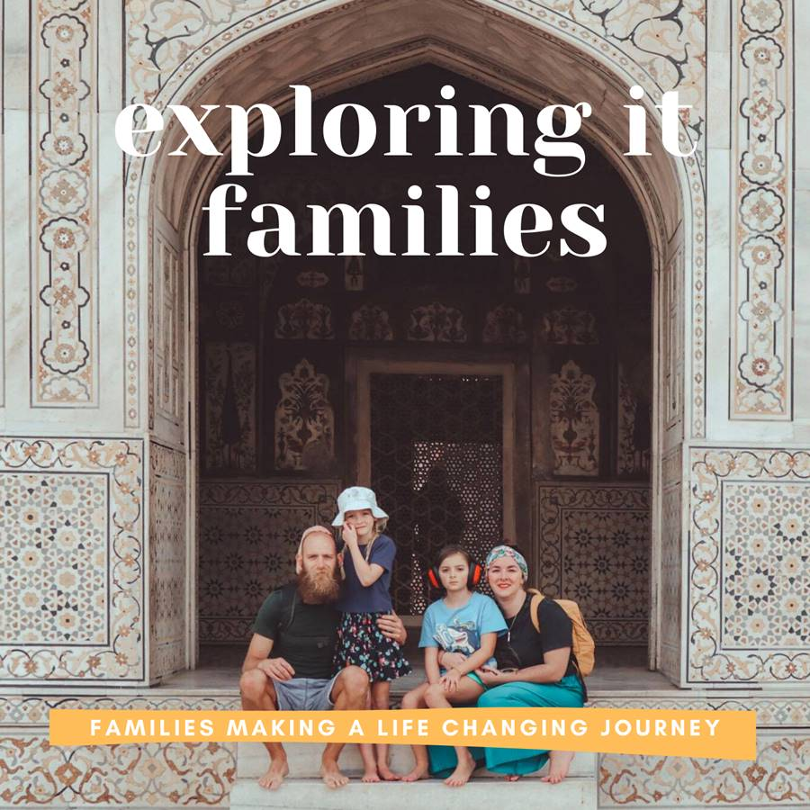 Family in Indian archway - Exploring It Families podcast