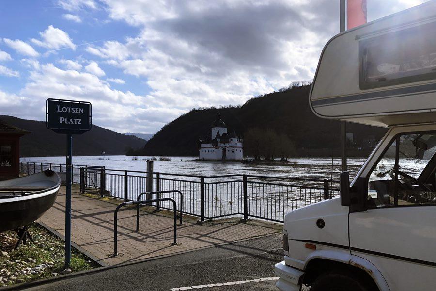 Motorhome ferry crossing the Rhine - Germany in a Campervan