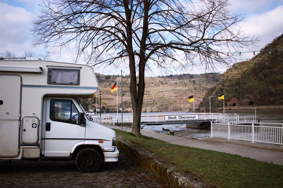 Motorhome at Oberwesel on the Rhine - Germany in a Campervan