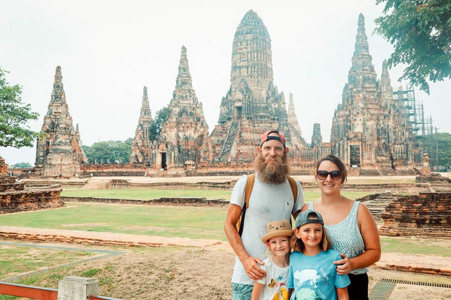 Worldschooling family at Ayutthaya in Thailand - Family Backpacking Adventure Life Change